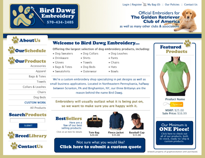 Bird Dawg Embroidery Custom Webpage Design Concept