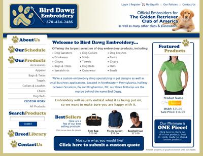 Bird Dawg Embroidery Custom Webpage Design Concept