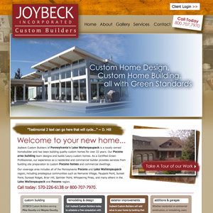 Website redesign for Joybeck Custom Home Builders